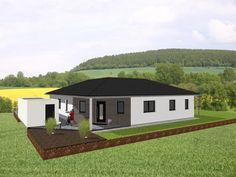 Fertighaus - Winkelbungalow mit interessantem Grundriss - Energiesparbauweise als Effizienzhaus KfW 70, 85 oder 55