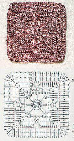 Szydełkomania: Motywy Do Pledów - Diy Crafts Crochet Motif Patterns, Crochet Blocks, Granny Square Crochet Pattern, Crochet Diagram, Crochet Chart, Crochet Squares, Crochet Granny, Crochet Designs, Crochet Stitches