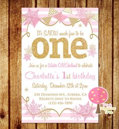 Pink and Gold First Birthday Party Invitation, Snowflakes, Winter Onderland…