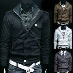 New Mens Top Designed Casual Hoodie Coat Jacket Hooded Cardigan Sweater 4Size US $15.95