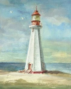 Trademark Fine Art 'Lighthouse Iii' Canvas Art by Danhui Nai, Size: 24 x Blue Canvas Wall Art, Canvas Prints, Framed Prints, Lighthouse Painting, Lake Painting, Nautical, Fine Art Prints, Gallery, Illustration