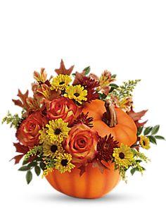 Teleflora's Warm Fall Wishes Bouquet Container Arrangement