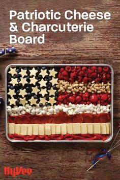 Not all of July treats have to be desserts! Enjoy our on-theme savory cheese and charcuterie board. Charcuterie Recipes, Charcuterie And Cheese Board, Fourth Of July Food, 4th Of July Celebration, Holiday Treats, Holiday Recipes, Food Platters, Party Snacks, Food To Make