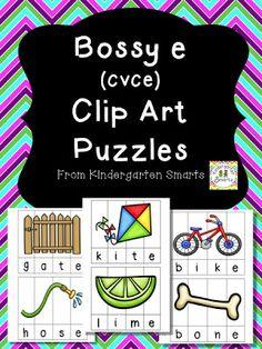 Bossy e (CVCe) Clip Art Puzzles $