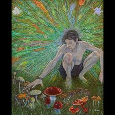 """regram @krabjabstudio Bryan K. Ward - Mycelium ConsciousnessOpen edition print signed Original painting featured in Summer 2016's """"Im'ago Primordialis"""" show This painting is basically a fantastical portrait of Jonathan Ott the world renown ethnobotanist writer chemist and botanical researcher. Mr Ott lived on Vashon island for a time and published several writings on hallucinogenic plants of the pacific northwest including several species of psylocibin mushrooms. I had the pleasure of being…"""