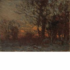 """Sunset in the Woods,"" John Joseph Enneking, oil on canvas, 5 x 6 3/4"", private collection."