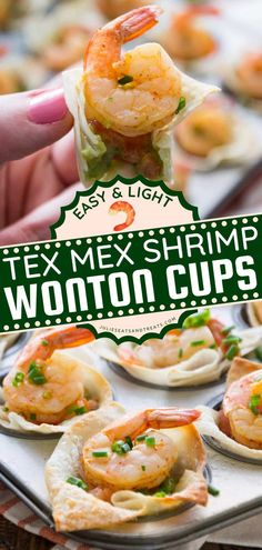 Looking for the best Gameday food idea? Light Tex Mex Shrimp Cups are the perfect bite-size and crowd-pleasing appetizer recipe! Try this recipe as a tailgate food or homegating recipe perfect for sharing! Seafood Dishes, Seafood Recipes, Appetizer Recipes, Good Food, Yummy Food, Yummy Recipes, Shrimp Wonton, Unique Recipes, Ethnic Recipes