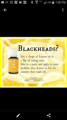 New Ideas Skin Care Recipes Black Heads Essential oils neue Ideen Hautpflege-Rezepte Schwarz Essential Oils For Skin, Essential Oil Uses, Young Living Essential Oils, Essential Oils Pimples, Essential Oils For Diarrhea, Yl Oils, Doterra Essential Oils, Baking Soda And Lemon, Young Living Oils