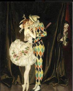 """Harlequin and Columbine"" by Frank Xavier Leyendecker (1876 - 1924)."