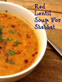 Shabbat Menu - Red Lentil Stew is the mainstay of this week's parsha.  We serve it with Ground Lamb Kabab, Persian rice and Asparagus.