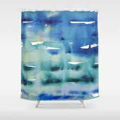 Blue watercolor shower curtain art turquoise by NewCreatioNZ