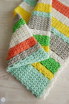 Come one, come all! This crochet blanket pattern is easy, fun, and absolutely beautiful! The Citrus Stripes Crochet Afghan can be made in any size you need, from baby blanket up to a throw for you bed.