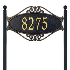 dbf6284fd99 Whitehall Products Hackley Fretwork Oval Black Gold Standard Lawn One Line  Address Plaque