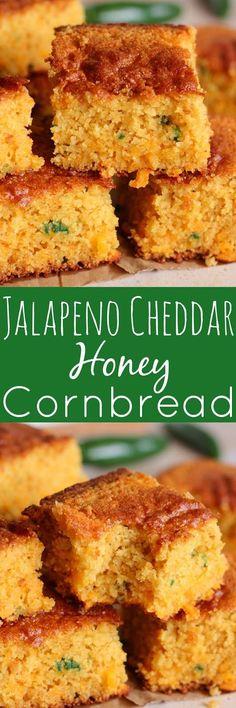 Cheddar Honey Cornbread Jalapeno Cheddar Honey Cornbread - This bread is SO good. It's loaded with amazing flavor.Jalapeno Cheddar Honey Cornbread - This bread is SO good. It's loaded with amazing flavor. Jalapeno Cheddar Cornbread, Honey Cornbread, Cornbread Recipes, Mexican Cornbread, Cheddar Cheese, Cornbread Muffins, It Goes On, I Love Food, So Little Time