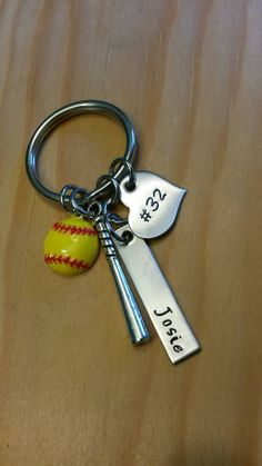 Hand Stamped Softball Keychain Bat Bag Charm by Softball Goodie Bags, Softball Team Gifts, Softball Jewelry, Senior Softball, Softball Party, Softball Senior Pictures, Softball Crafts, Girls Softball, Softball Stuff