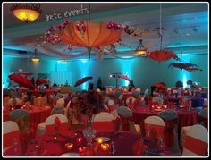 Blue And Orange Wedding Centerpieces | Picture: Parasol Centerpieces provided by ARTC Events New Smyrna Beach ...