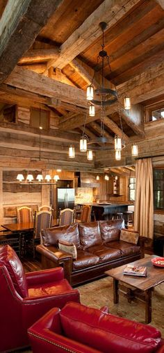Rustic cabin great room! What  beautiful spot to hang out with the family.