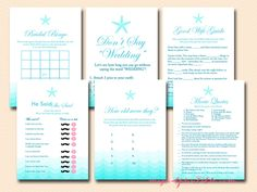 Beach Theme Bridal Shower Games - Magical Printable