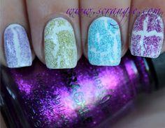 China Glaze summer glitter Crackle Glaze polishes! They look so spring-like over that white base!