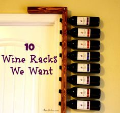 reclaimed wood door frame wine rack - might be able to DIY this for the pantry area in my kitchen - if only the wine lasted that long! Homemade Wine Rack, Reclaimed Wood Door, Wood Door Frame, Rustic Wine Racks, Ideas Hogar, Wine Bottle Holders, Unique Doors, Wine Storage, Projects