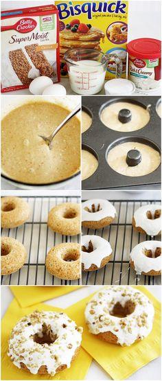 Carrot Cake Donuts w/ Pineapple Cream Cheese Glaze #bettycrocker #bisquick