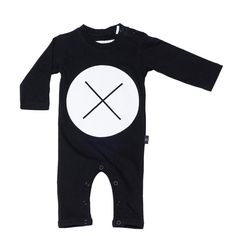 Huxbaby Circle Cross Long Sleeve Romper Black