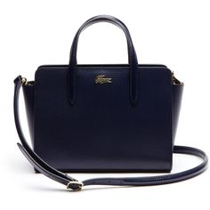 Lacoste Women's Chantaco Leather Shopping Bag (£155) ❤ liked on Polyvore featuring bags, handbags, bags bags, leather goods, peacoat, leather tote shopper, tote handbags, genuine leather purse, leather tote handbags and leather handbags