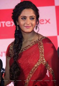 Anushka Shetty in Red Transparent Saree