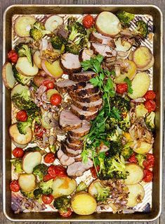 Get out your sheet pan for this quick delicious spice crusted pork with potatoes and vegetables from Panning The Globe, a fantastic dinner recipe for busy weeknights. #Pork #SheetPan #Dinner #Recipe