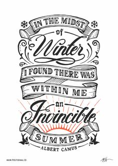 Inspirational quotes: Albert Camus Invincible Summer poster on Inspirationde
