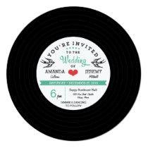 Modern Retro Vinyl Record Black Teal Wedding Card Retro Wedding Invitations, Promotion Code, Modern Retro, Cool Tools, Vinyl Records, Wedding Cards, Teal, Coding, Black