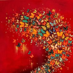 "Saatchi Online Artist: Lily Greenwood; Paint, 2013, Mixed Media ""Butterflies on Red/Gold"""