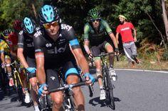 Vuelta a España 2014 - Stage 18: A Estrada - Monte Castrove en Meis 157km photos - Kanstantsin Siutsou setting the pace as Chris Froome (Team Sky) checks his stem