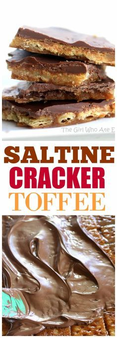 Saltine Cracker Toffee - my grandma\'s recipe and it\'s always a crowd pleaser. the-girl-who-ate-...