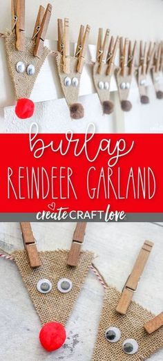 This Burlap Reindeer Garland, featuring Rudolf and the whole gang, will look adorable in your house this holiday season! This Burlap Reindeer Garland, featuring Rudolf and the whole gang, will look adorable in your house this holiday season! Diy Christmas Ornaments, Xmas Crafts, Homemade Christmas, Simple Christmas, Winter Christmas, Decor Crafts, Outdoor Christmas, Christmas Christmas, Burlap Christmas Crafts