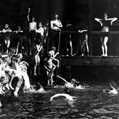 RECREATION: City children - bathing for free at the Battery, New York City…