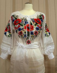 Junior hand emroidered white floral blouse