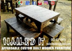 6 Seater table and bench set. Perfect for outdoor use. For more info contact us on 0834376919 or naileditpallets@gmail.com #outdoorpatio #outdoorfurniture #patiofurniture #custompalletwoodfurnituredurban #custompalletfurniture #palletbenchseat #naileditpalletwoodfurniture #nailedpalletfurnituredurban #naileditcustombuiltpalletfurniture