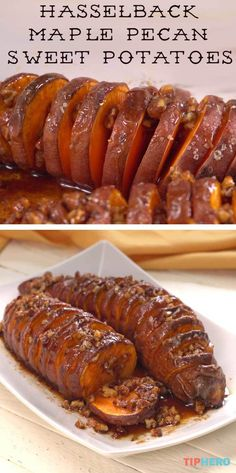 Here's a recipe that is begging to be added to your Thanksgiving menu... Hasselback Maple Pecan Sweet Potatoes! Sweet, sticky goodness! Click for the video and give them a try. #sweet #sidedish #holidays #fallrecipes #recipes #yum
