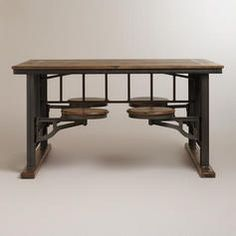 Unique dining table with attached stool type seating. Nice item for decorating the kitchen/dining area space with a little out of the ordinary furniture.
