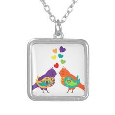 Cute Whimsical Love Birds and Hearts Picture Pendants