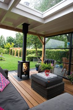 Enjoy the most beautiful summer evenings together with the stainless steel wood stoves from FJOER - wood stove veranda outdoor living cover fire - # Small Backyard Design, Backyard Patio Designs, Backyard Landscaping, Garden Design, Backyard Seating, Outdoor Seating, Outdoor Rooms, Outdoor Gardens, Outdoor Living