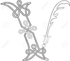 A Celtic Knot-work Capital Letter V Stylized Outline