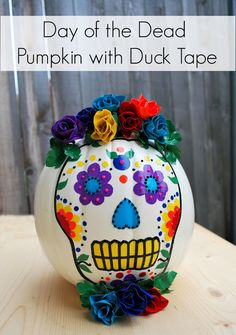 Great Day of the Dead pumpkin made with Duck Tape