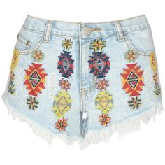 Glamorous Embroidered Denim Shorts ($37) ❤ liked on Polyvore featuring shorts, bottoms, pants, summer shorts, bleached shorts, short jean shorts, jean shorts and embroidered denim shorts