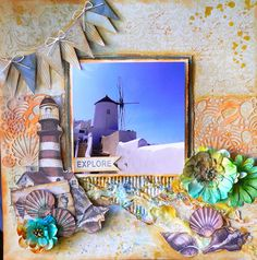 """Created with """"Sea Breeze"""" paper collection for Couture Creations, Artdeco Creations. Adriana Bolzon. more details here http://couturecreationsaus.blogspot.com.au/2016/06/exploring-santorini-by-adriana-bolzon.html"""