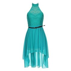 Seaside Resort Dress ($40) ❤ liked on Polyvore featuring dresses, vestidos, high low sweetheart dress, blue halter dress, blue dress, sweetheart dress and blue halter top
