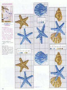 starfish and shells Cross Stitch Sea, Cross Stitch Bookmarks, Cross Stitch Needles, Beaded Cross Stitch, Cross Stitch Embroidery, Needlepoint Patterns, Embroidery Patterns, Cross Stitch Designs, Cross Stitch Patterns