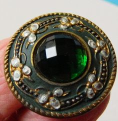 GREEN Faceted 90's JEWELLED Metal Enamel? Painted Button BkMk Antique Victorian