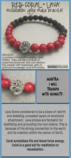 bracelet yoga mala meditation meaning – mens womens chakra stacks. black lava dragon red coral.